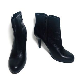 Nine West Noengel Black Leather Ankle Boots